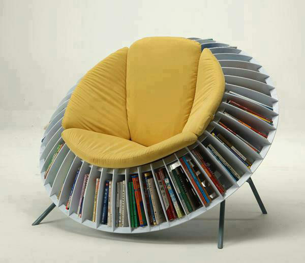 Round-Chair-Bookcase-combin